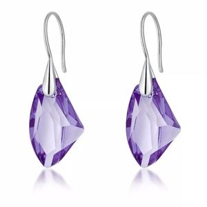 Sterling Silver Purple Pendant Earrings
